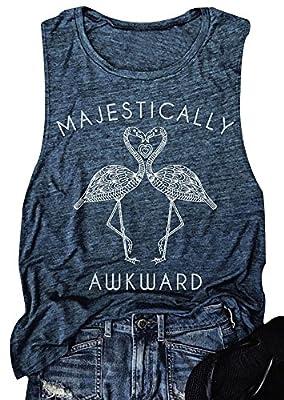 Women Majestically Flamingo Tank Top Funny Words Sleeveless Cami Shirt