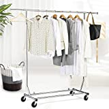 Yaheetech Clothing Garment Rack Extendable Commercial Grade Premium Stainless Steel Heavy Duty Collapsible on Wheels Chrome