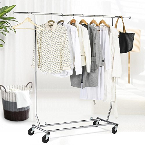 Chrome Metal Folding Commercial Clothes Rack: Yaheetech Commercial Grade Single Rail Collapsible/Folding