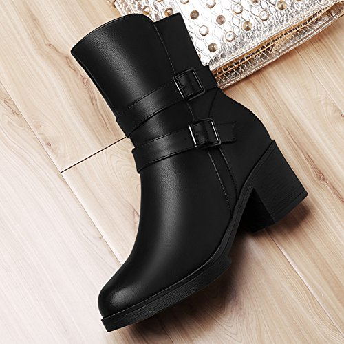 Heel and Head Buckle Fashion Round Side Design Zipper Women's Black Boots Crude wTqSCtx7
