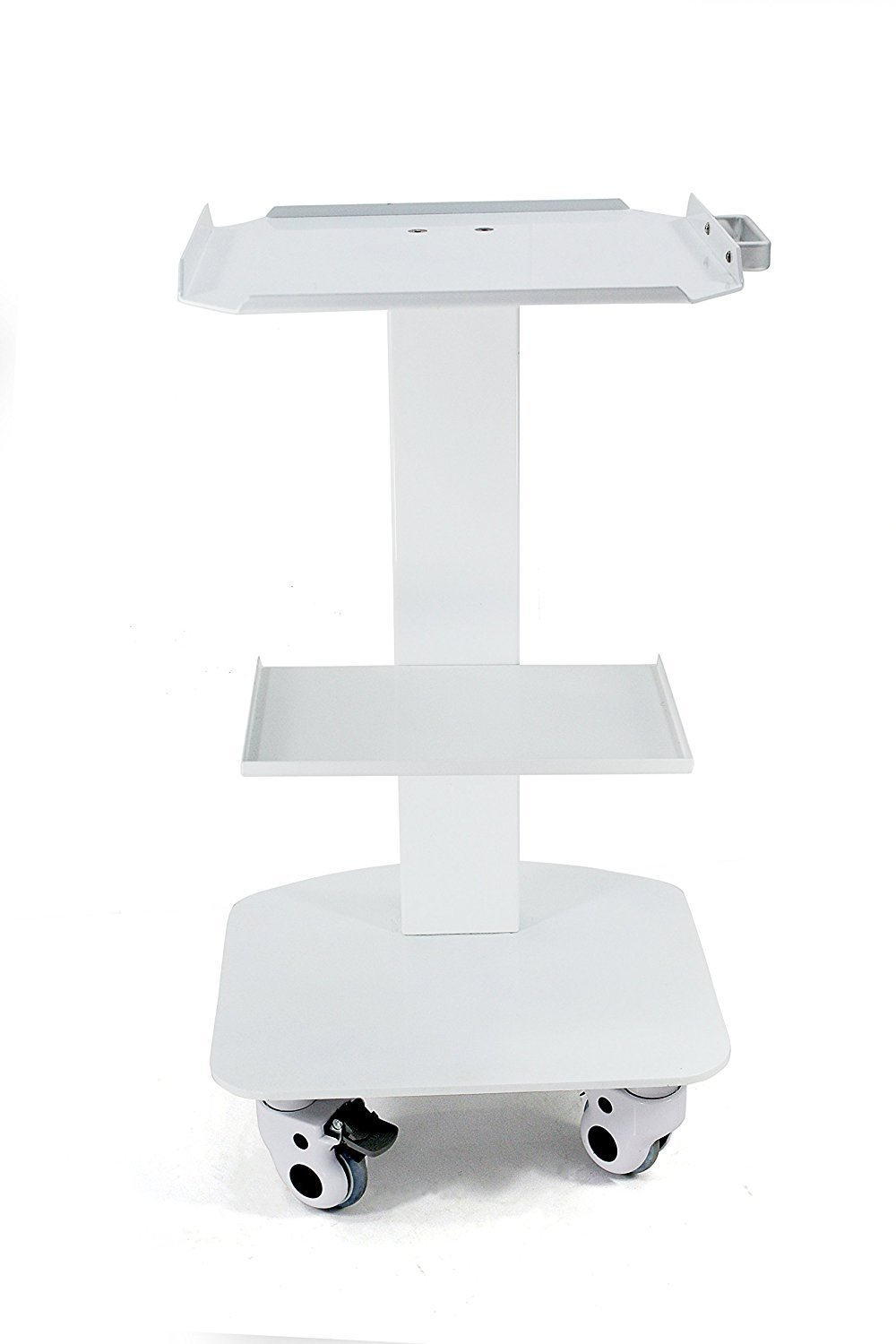 Dental Marshall 3-Shelf Metal Rolling Utility Cart White Color