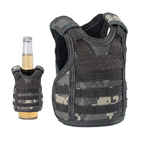 (Lightbare Mini Tactical Vest Bottle Beer Vest Molle with Adjustable Straps, Beverage Holder for 12oz or 16oz Cans and Bottles, 7 Colors)