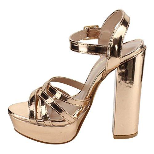 Per Sempre Fq29 Donna Strappy Cinturino Alla Caviglia Con Fibbia Sandali Con Tacco Grosso In Oro Rosa
