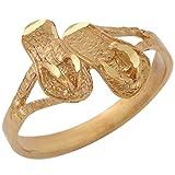 14k Yellow Gold Cute Trendy Ladies Flip Flops Sandals Diamond Cut Ring