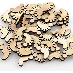 ASMGroup Blank Ornaments 50pcs 1217 Cute Wooden Footprint Shapes Laser Blank Embellishments Craft Card Decor Scrapbook Craft Cards Wood Craft Decoration