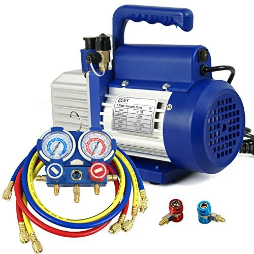 ZENY 4CFM Single-Stage 5 Pa Rotary Vane Economy Vacuum Pump 3 CFM 1/3HP Air Conditioner Refrigerant HVAC Air Tool R410a 1/4 Flare Inlet Port, Blue by ZENY (Image #1)