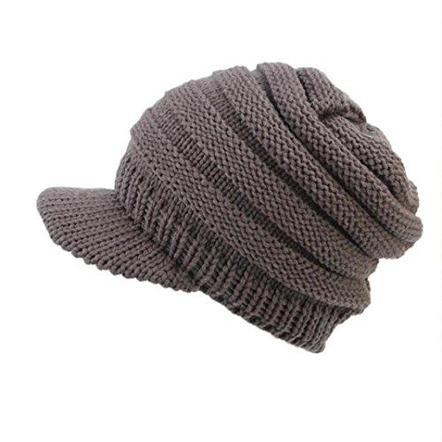Fheaven (TM) Women Winter Warm Hat Soft Stretch Cable Knit Messy Visor Hat Crochet Wool Ski Skull Slouchy Caps (Grey)