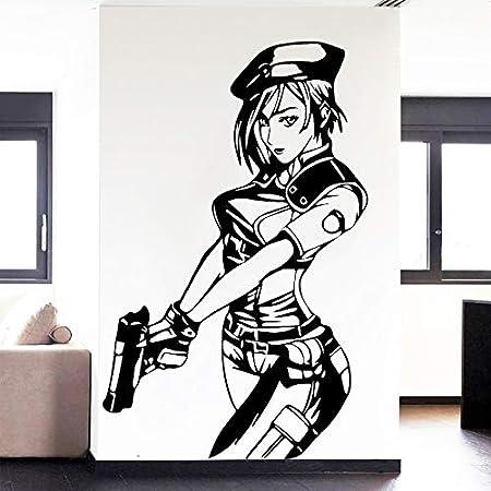 hllhpc Lujosa Mujer policía de Dibujos Animados Tatuajes de Pared ...