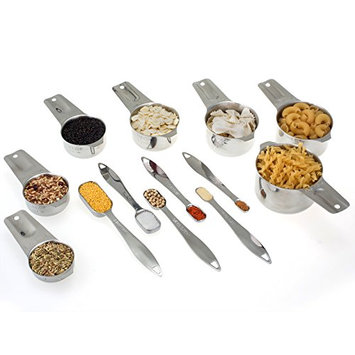 13-piece Measuring Cups and Spoons Set, 18/8 Stainless Steel Heavy Duty Ergonomic Handle with Ring Connector