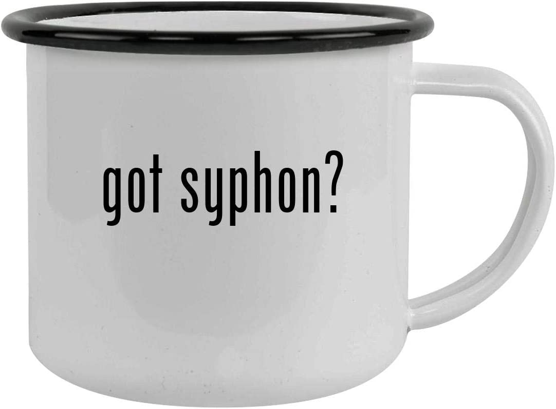 got syphon? - Sturdy 12oz Stainless Steel Camping Mug, Black