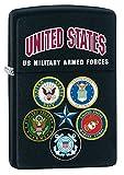 Zippo US Military Armed Forces Pocket Lighter, Black Matte