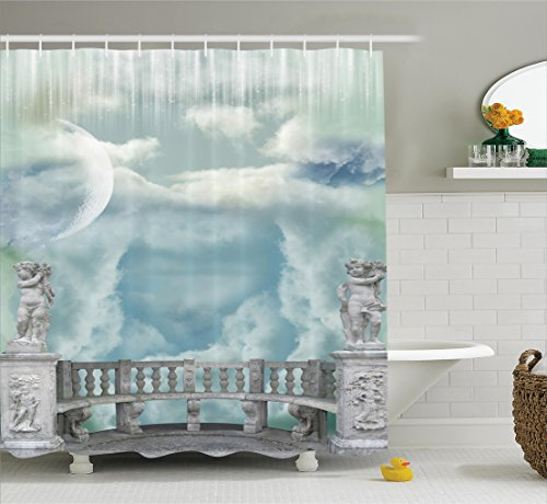 Attractive Ambesonne Mystic House Decor Collection, Balcony In The Sky With Angel  Statues Princess Castle Victorian Style Architecture, Polyester Fabric  Bathroom ...