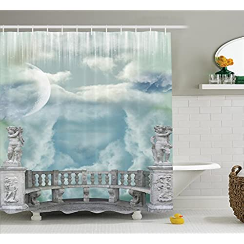 Ambesonne Mystic House Decor Collection, Balcony In The Sky With Angel  Statues Princess Castle Victorian Style Architecture, Polyester Fabric  Bathroom ...