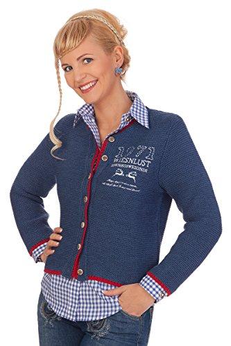 Damen Trachten Strickjacke - ROSI - rot, marine, Größe 40