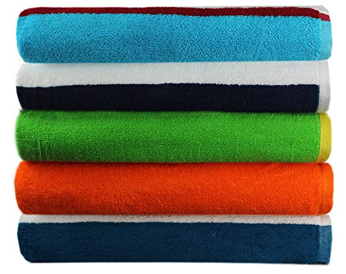 Cotton Craft-5 Pack Assorted Terry Beach Towels