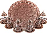Turkish Moroccan Indian Tea Set for Six - Glasses with Brass Holders Lids Saucers Tray, Tea Cups, Tea Servers-(TS-201)