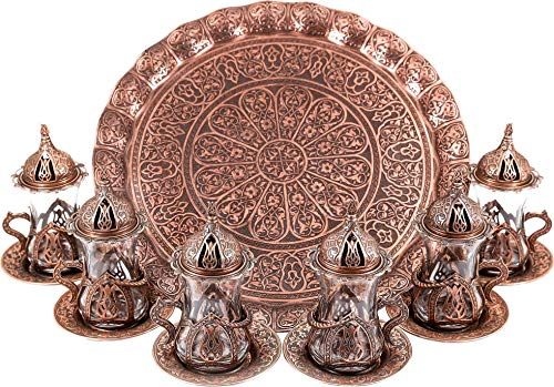- Turkish Moroccan Indian Tea Set for Six - Glasses with Brass Holders Lids Saucers Tray, Tea Cups, Tea Servers-(TS-201)