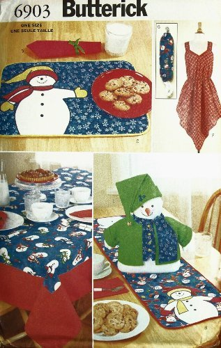 (OOP Butterick Crafts Pattern 6903. Snowman Table Decor: Placemats, Tablecloth; Table Runner, Centerpiece & Napkin + Apron & Plastic Bag Holder)