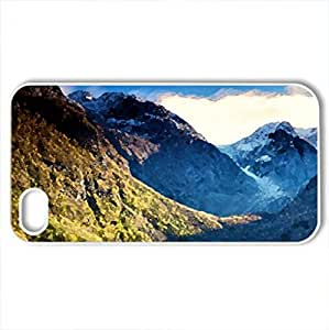 fantastic mountain lake - Case Cover for iPhone 4 and 4s (Lakes Series, Watercolor style, White)