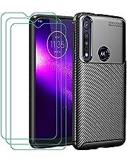 iVoler Hoesje Compatibel met Motorola Moto G8 Play/Motorola Moto One Macro + 3-pack Screen Protector Beschermfolie van Gehard Glas met Ontwerp van Koolstofvezel TPU Case Cover- zwart