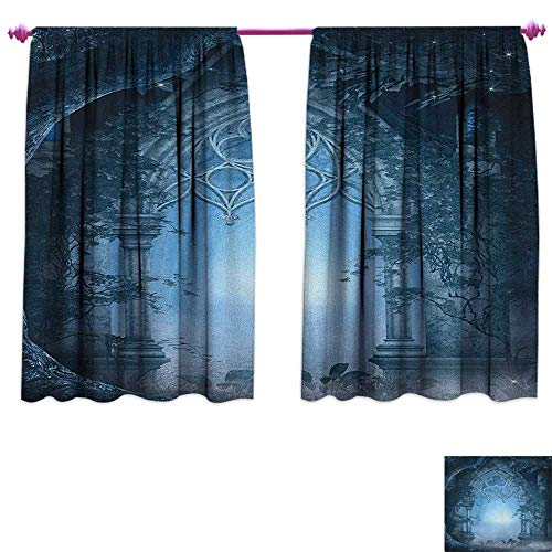 m Darkening Wide Curtains Passage Doorway Through Enchanted Foggy Magical Palace Garden at Night View Customized Curtains W55 x L45 Navy Blue and Gray ()