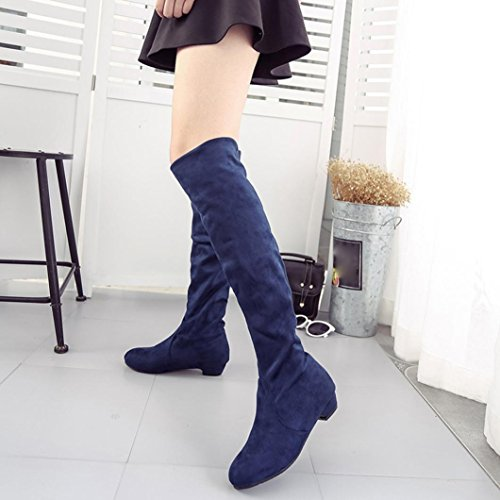Womens Boots,Clode® Womens Ladies Faux Suede High Thigh Over The Knee Block Heel Stretch Slim Boots Shoes Blue