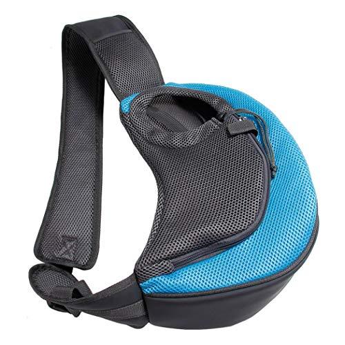 BreTT1QIN9 Pet Puppy Dog Carrier Outdoor Travel Single Shoulder Bag Mesh Pouch Handbag - Sky Blue S