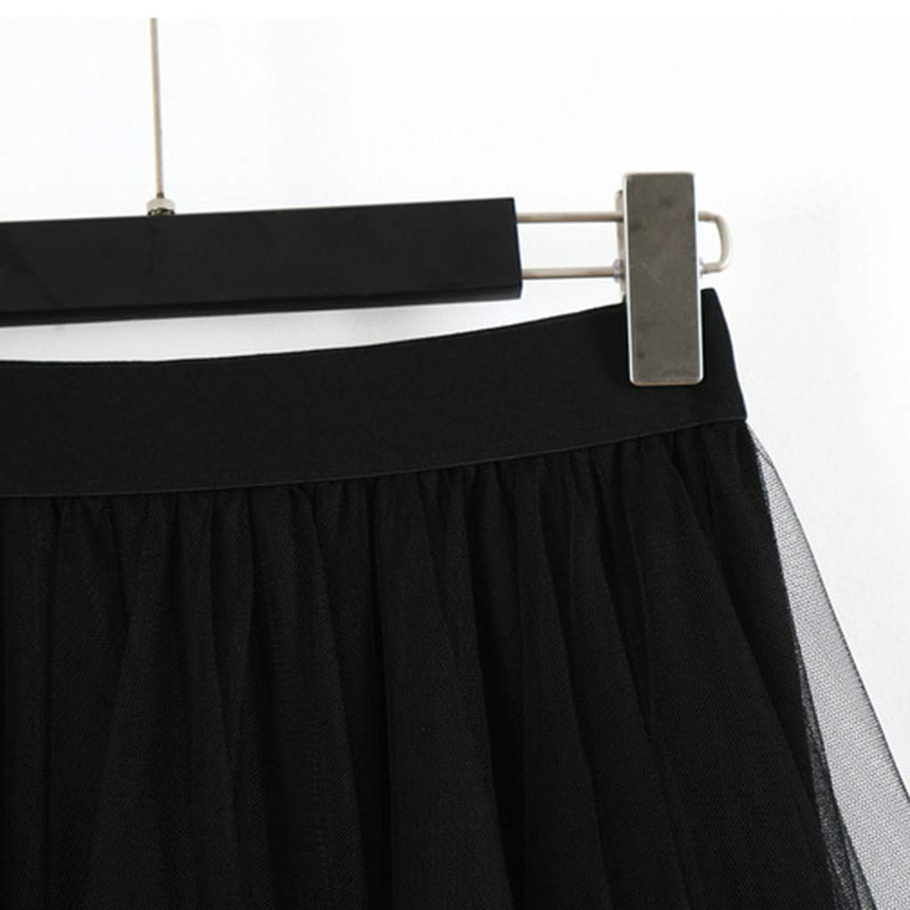LISTHA Tulle Midi Skirt Women Casual High Waist Pleated Tutu Skirts Summer