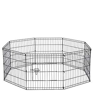 Dog Exercise Pen Pet Playpens for Small Dogs – Puppy Playpen Outdoor Back or Front Yard Fence Cage Fencing Doggie Rabbit Cats Playpens Outside Fences with Door – 24 Inch Metal Wire 8-Panel Foldable
