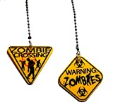 zombie fan pull - Plastic ZOMBIE crossing Warning Sign Ceiling FAN PULL light chain - set of TWO