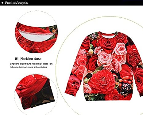 Amazon.com : UltaPlay 3D ROSE OPEN Sweatshirt Long Sleeve Sudaderas Women Hoodies Pullovers Clothing [ WJW1009 M ] : Sports & Outdoors