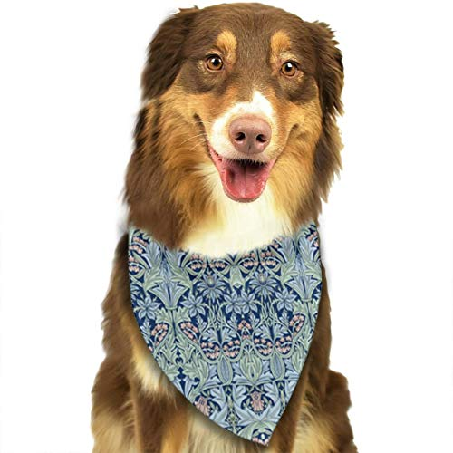 ANYWN Pet Dog Bandanas William Morris Bluebell Columbine Triangle Bibs Scarfs Accessories for Puppies Cats Pets Animals Large Size ()