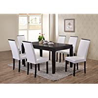 Kings Brand Black Finish Wood Dining Dinette – Kitchen Table & 6 White Parson Chairs