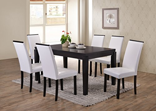 Table Wood Parsons Dining - Kings Brand Black Finish Wood Dining Dinette – Kitchen Table & 6 White Parson Chairs