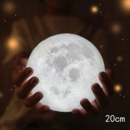 Stand For Free !!3D LED Magical Moon Nursery Lamp, 3 Colors Dimmable Touch Control Brightness, USB Rechargable, Home Decorative Night Light Xander - Code Coupon E Lites