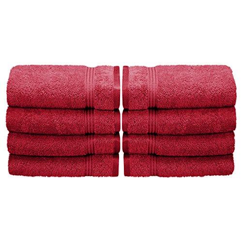Superior 100% Long Staple Combed Cotton 8 Piece Hand Towel Set, Burgundy