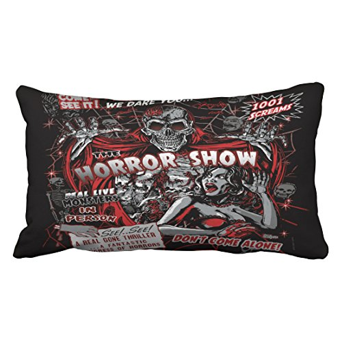 Emvency Decorative Throw Pillow Cover King Size 20x36 Inches Horror Movie Monster Spookhow Pillowcase With Hidden Zipper Decor Fashion Cushion Gift For Home Sofa Bedroom Couch Car by Emvency