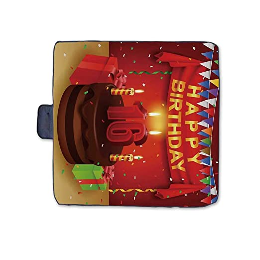 16 cumpleaños Decoraciones Elegante Manta de Picnic, Tarta ...