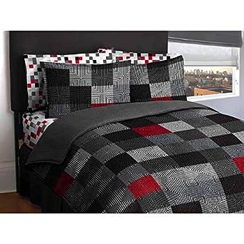 Amazon Com Blue Amp Gray Stripes Teen Boys Twin Comforter