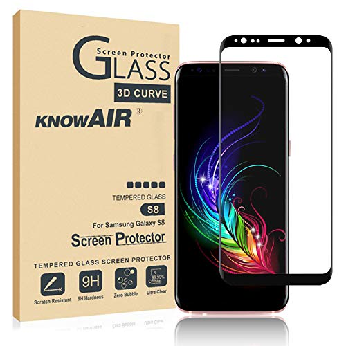 KNOWAIR [2 Pack] Galaxy S8 Screen Protector Tempered Glass, [Update Version] 3D Curved Dot Matrix [Full Screen Coverage] Glass Screen Protector [Case Friendly] for Samsung S8 (Best Galaxy S8 Screen Protector)