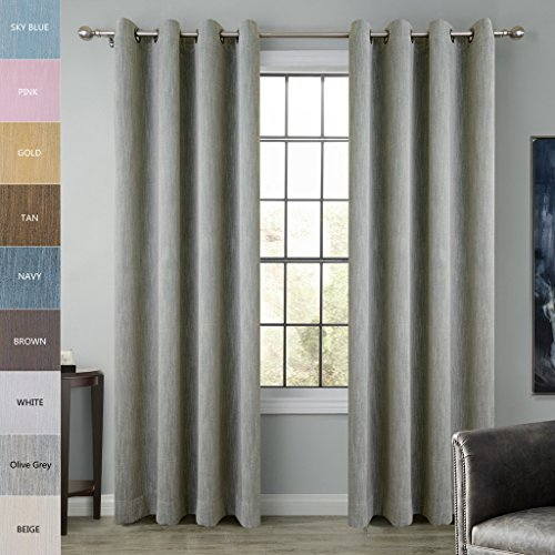 Cotton Rayon Chenille Blackout Window Curtain Panel Drapes Olive Grey 72W x 63L Inch (1 Panel) Antique Bronze (Olive Green Chenille)