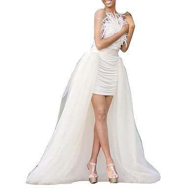 114cf74d5c flowerry Women Long Tutu Dress Cover Detahable Wedding Train Tulle Overskirt  3XL Ivory