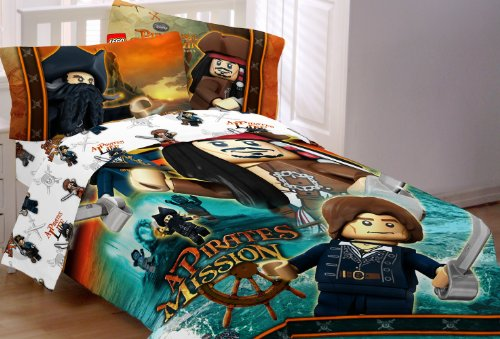 UPC 073558667438, Lego Disney Pirates of the Caribbean Ships Away Printed Twin Sheet Set