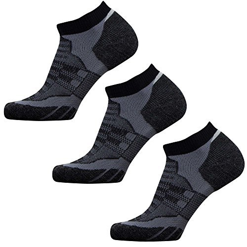 (Small, 3 Pack - Black/Grey) - Low Cut Wool Running Socks - Cushioned Merino Wool Athletic Socks for Men and Women, Moisture Wicking   B01F0IWX4W