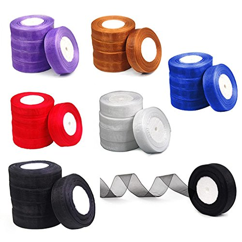 (Organza Ribbon - Nhbr 25mm Woven Edge Organza Ribbon 6 Colors Wedding Purple - Orange 1/4 Yard Rose Teal Brown Clasp Edge Roll White)