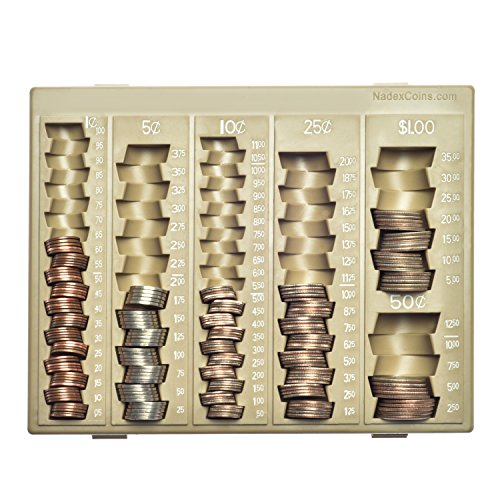 Nadex Coin Handling Tray | Bank Teller and Change Counter Coin Counting and Sorting Tray with 6 Compartments for U.S. Coins with Cover - 32 Coin Wrappers Included (Beige)