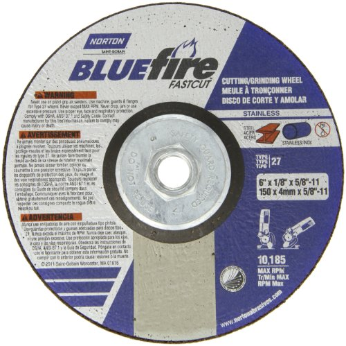 Norton Blue Fire Plus Fast Cut Depressed Center Abrasive Wheel, Type 27, Zirconia Alumina and Aluminum Oxide, 5/8''-11 Hub, 6'' Diameter x 1/8'' Thickness  (Pack of 1) by Norton Abrasives - St. Gobain