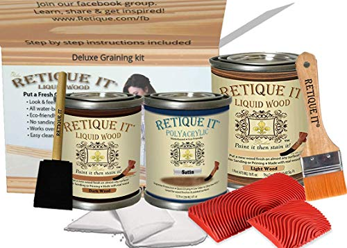 Retique It Chalk Furniture Paint by Renaissance Works on Virtually Any Interior or Exterior Hard Surface, Poly Kit, 81 Lightwood