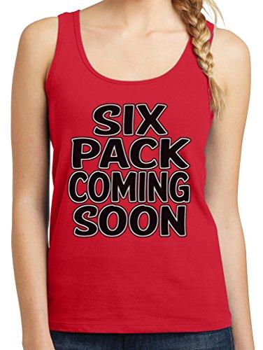 TshirtsXL Womens Six Pack Coming Soon Graphic Tank Top, 2X, Red