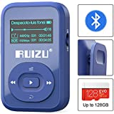 RUIZU Bluetooth 4.0 Mp3 Player 8GB, Clip Sport MP3 Player with FM Radio,1.1inch OLED Screen, Mini Mp3 Player For Running Support Up To 128GB (Blue)